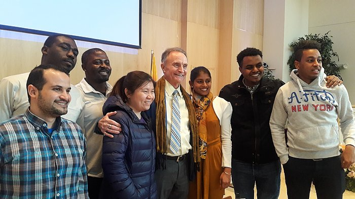 Happy students and happy professor at end of Leadership class.