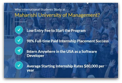 Low initial payment with paid internships in U.S. companies